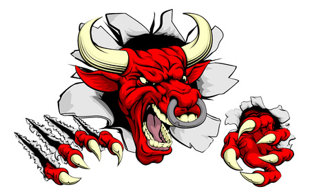bull head: A tough red bull animal sports mascot breaking through a wall