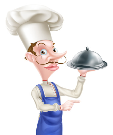 snob: An illustration of a cartoon chef holding a metal dome and pointing Illustration