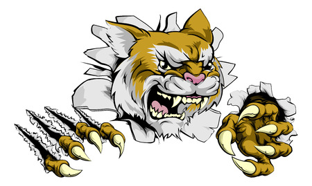 tearing: A tough wildcat or cougar animal sports mascot breaking through a wall