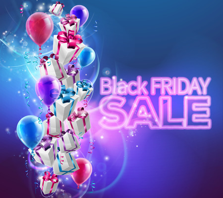gift wrapped: Black Friday Sale background with gift wrapped presents and balloons and Black Friday SALE neon text Illustration