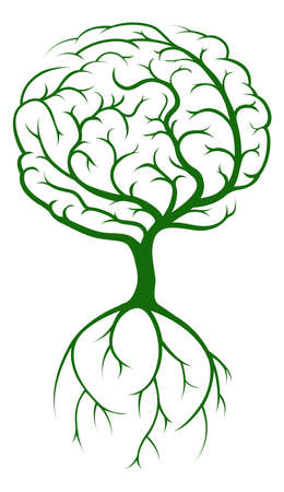 tree of life silhouette: Brain tree concept of a tree growing in the shape of a human brain. Could be a concept the tree of knowledge