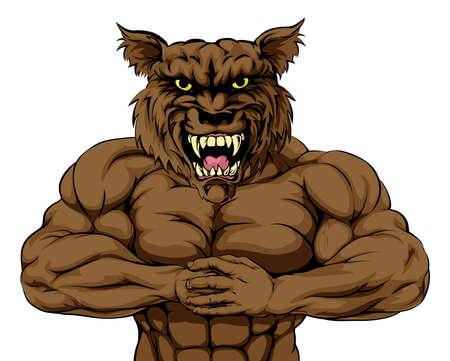 늑대 마스코트 캐릭터 또는 스포츠 마스코트 싸움을위한 준비
