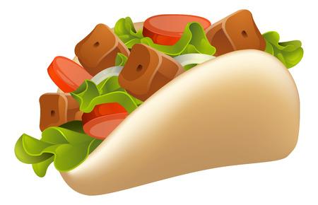 pita bread: An illustration of a healthy looking cartoon souvlaki kebab Illustration