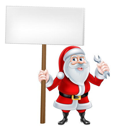 spaner: A Christmas cartoon illustration of mechanic Santa Claus holding sign and spanner
