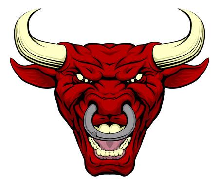 toros bravos: Una ilustraci�n de un duro cara car�cter toro rojo de dibujos animados Vectores