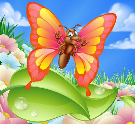 mariposa caricatura: Una ilustración de un personaje lindo mariposa de la historieta en un prado de verano con flores