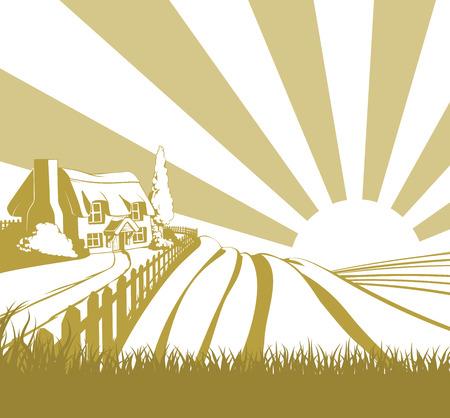 farm field: Farm field landscape concept illustration with sunrise