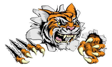 tigre caricatura: Una dura mascota de los deportes tigre animales rompiendo una pared Vectores