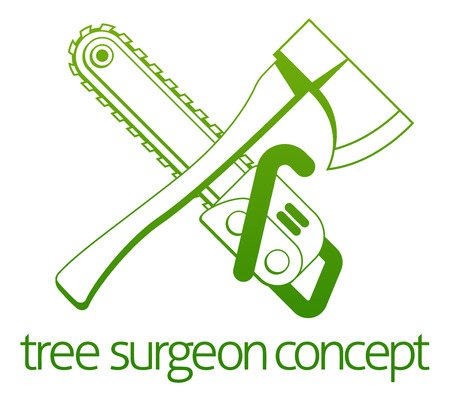 surgeron: A crossed axe and chainsaw Tree Surgeon or gardener concept design
