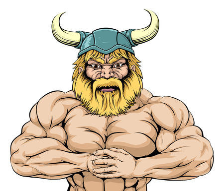An illustration of a tough looking muscular Viking Warrior mascot