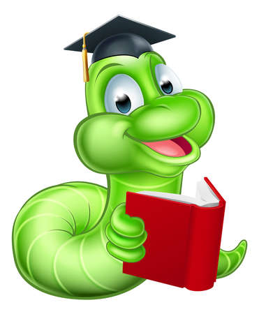 reads: Cute smiling green cartoon caterpillar worm bookworm mascot reading a book and wearing mortar board graduation hat Illustration