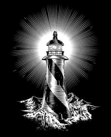 Lighthouse: A vintage style lighthouse on rocks with rough waves in the background Illustration
