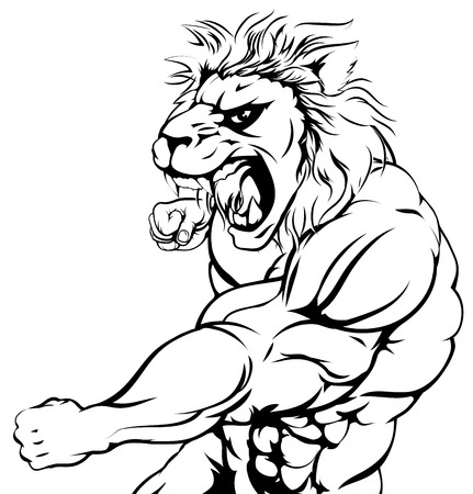 lion clipart: An illustration of a tough lion animal character or sports mascot punching