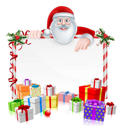 Santa Christmas Sign with cartoon Santa peeking over a sign with wrapped presents and Christmas holly Illustration