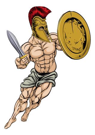 sheild: An illustration of a muscular strong Trojan Warrior Illustration