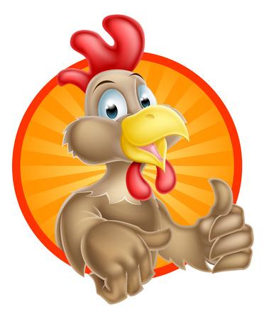 pollo: Una mascota lindo pollo de dibujos animados dando un pulgar hacia arriba Vectores