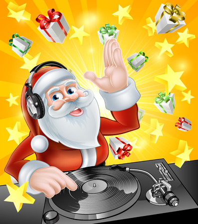 mixing board: Cartoon Christmas Santa Claus DJ with headphones on at the record decks with Christmas gift presents in the background
