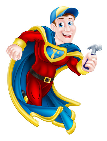 uomo rosso: Illustrazione di un cartone animato, tuttofare o falegname supereroe mascotte possesso di un martello