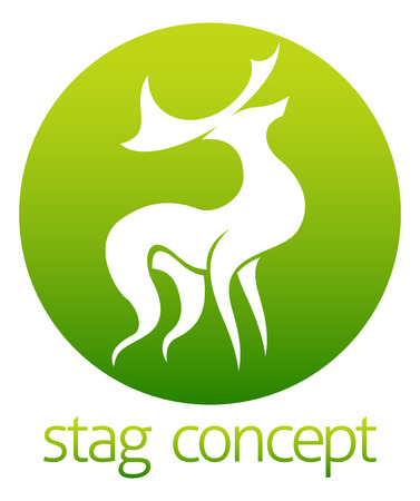 lithograph: An abstract illustration of a deer stag circle concept design