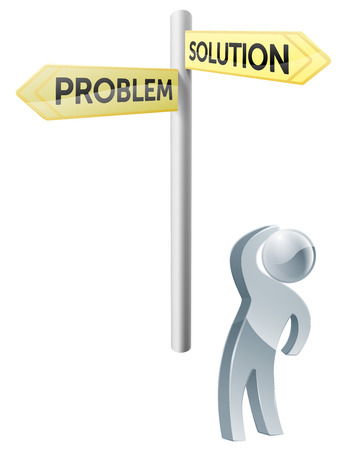 man looking up: Conceptual illustration of a man looking up at a road sign post reading problem and solution Illustration