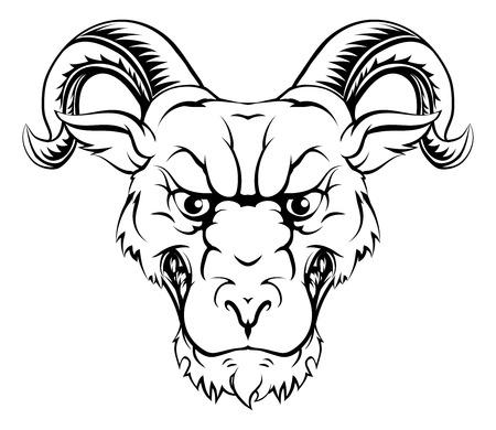 aries: Ilustración del carácter del espolón de una mascota de los deportes de carnero o el carácter de los animales