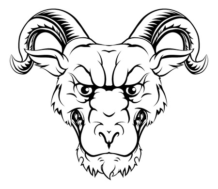 rams horns: Ram character illustration of a ram sports mascot or animal character