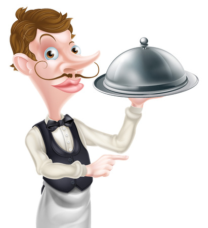 snob: An illustration of a cartoon waiter holding a metal dome and pointing