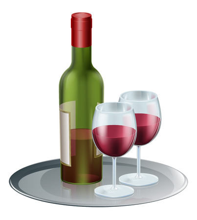 botle: Red wine bottle and wine glasses on a silver tray or platter