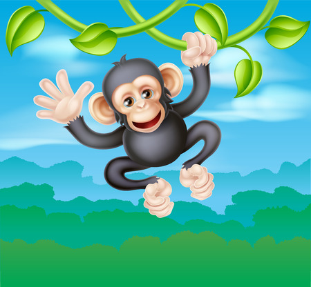 A cute cartoon chimp primate, similar in appearance to a monkey, character swinging from vines in the trees of a jungle and waving