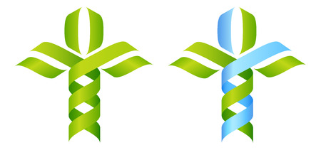 herbalist: DNA Tree symbol, a DNA double helix growing into a stylised plant tree shape. Great for medical, science, research or other nature related use. Illustration