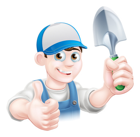 hand trowel: A cartoon gardener character holding a garden trowel and giving a thumbs up