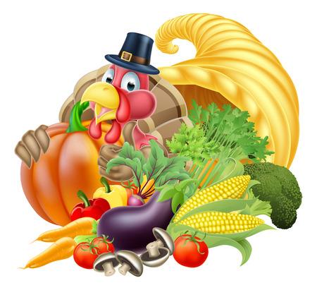 cuerno de la abundancia: Acción de gracias cuerno de oro de cornucopia llena de un montón verduras y frutas con la historieta del pavo pájaro que llevaba un peregrino o un sombrero de gracias puritana