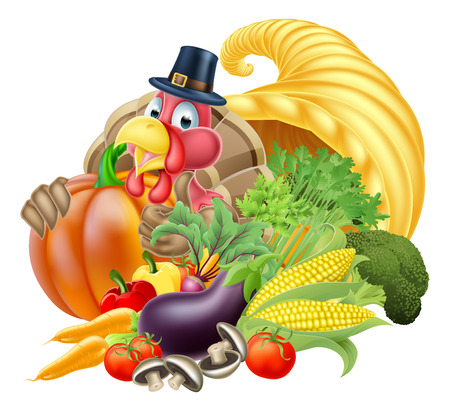 horn of plenty: Thanksgiving golden horn of plenty cornucopia full of vegetables and fruit produce with cartoon turkey bird wearing a pilgrim or puritan thanksgiving hat Illustration