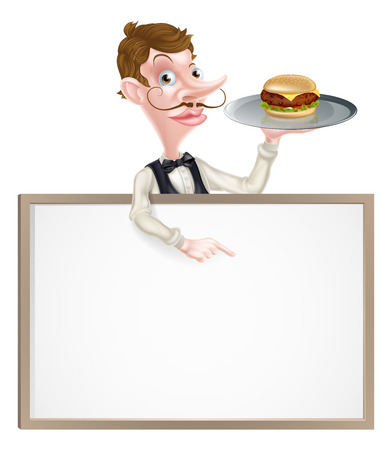 waistcoat: An illustration of a cartoon Waiter holding a tray with a burger on it  and pointing at a signboard