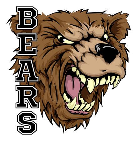 ferocious: An illustration of a bear sports mascot head with the word bears