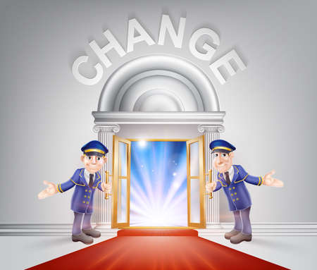 Change Door concept of a doormen holding open a red carpet entrance to change with light streaming through it. Illustration
