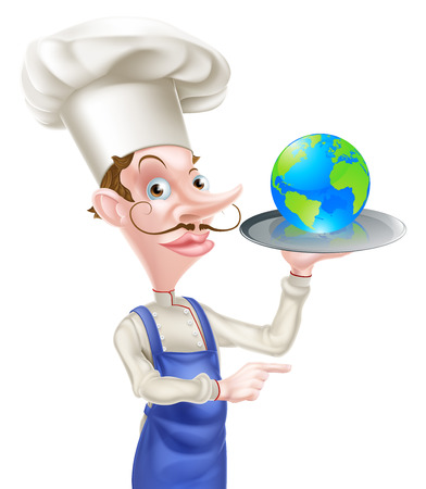 greek chef: An illustration of a cartoon chef holding a tray with a world globe on it and pointing