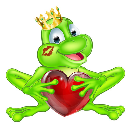 An illustration of a cute cartoon frog prince character wearing a crown holding a heart shape