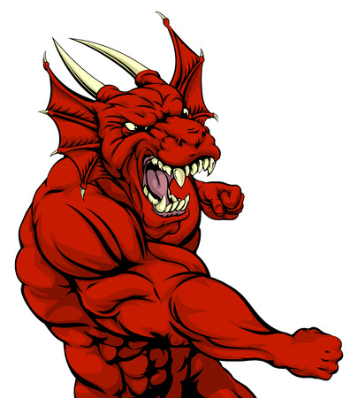 welsh: A mean looking red dragon character mascot fighting and punching with fist Illustration