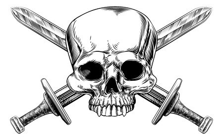 crossbones: A human skull and crossed swords pirate style sign in a vintage style Illustration