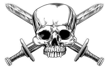 calavera pirata: Un signo de estilo pirata cráneo humano y espadas cruzadas en un estilo vintage