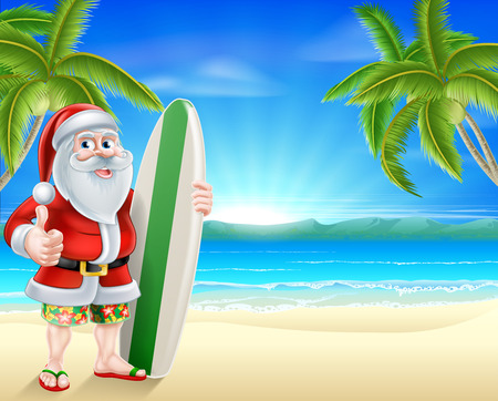 father christmas: Cartoon of Santa Claus holding a surf board and giving a thumbs up in his Hawaiian board shorts and flip flop sandals on a tropical beach Illustration