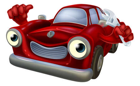 workshop: Cartoon car character holding a spanner and giving a thumbs up, auto repair garage mechanic