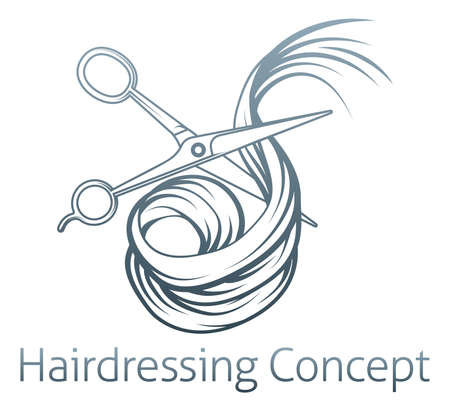 hairdressing scissors: An illustration of a pair of hairdressers scissors cutting Hair Illustration