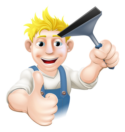 window cleaner: A Window Cleaner man holding a Squeegee and giving athumbs up