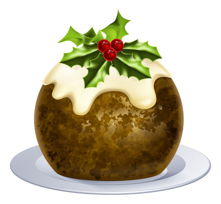 An illustration of a Christmas pudding cake with holly on top Illustration