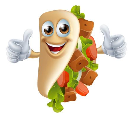 pita bread: An illustration of a healthy looking cartoon souvlaki kebab character giving a thumbs up