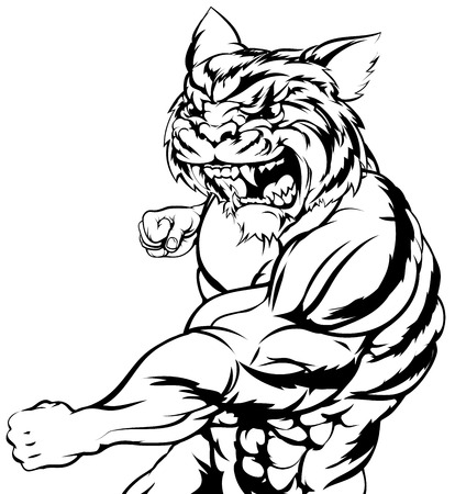 tough: A mean tough tiger animal sports mascot punching at viewer