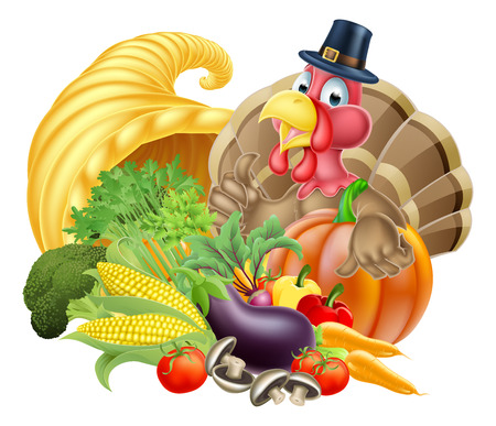 produce: Thanksgiving cartoon turkey bird wearing a pilgrim or puritan thanksgiving hat with cornucopia full of produce Illustration