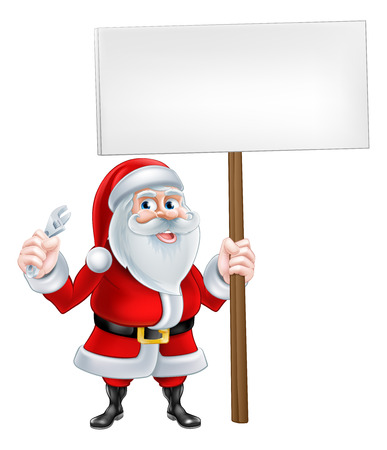 spaner: A Christmas cartoon illustration of Santa Claus holding spanner and sign post